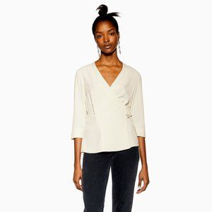 TOPSHOP Ivory Crepe Belted Wrap Blouse Top